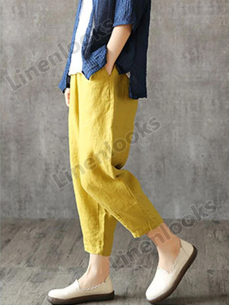 Cotton Linen Plus Size Loose Pants for Women