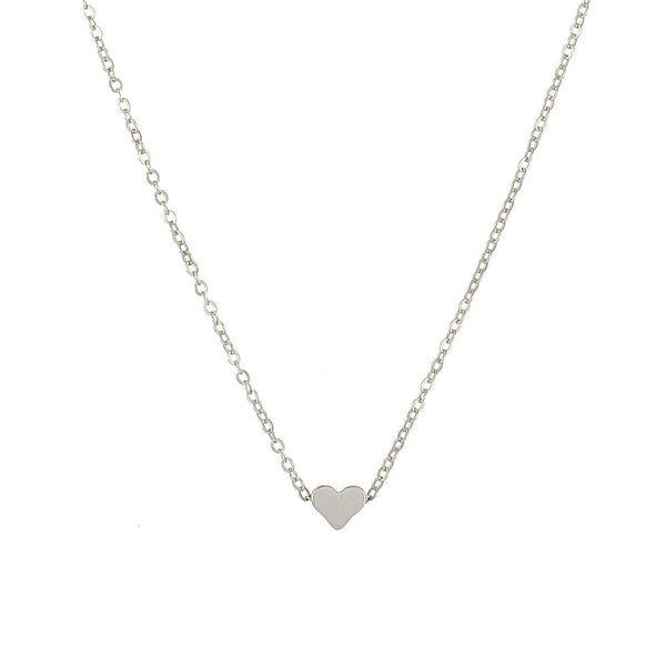 Crystal Heart Leaf Moon Pendant Necklace