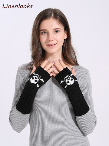 Cute Cartoon Skull Fingerless Sleeves Mittens
