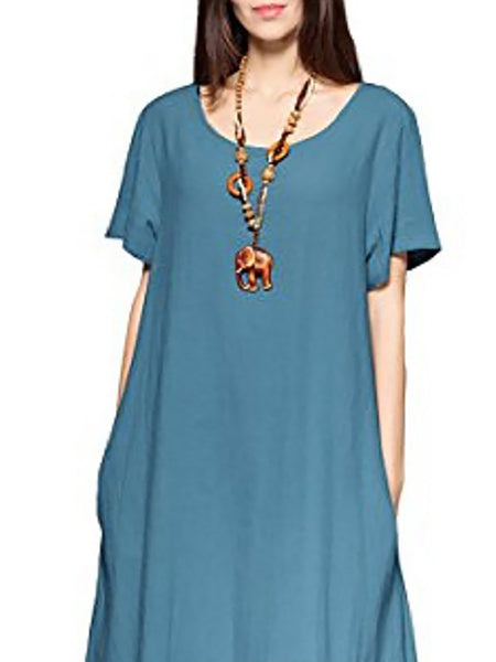 Deep Blue Basic Crew Neck Casual Dress