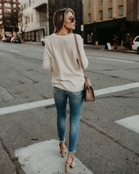 Sexy Knitted Sweater Long Sleeve V Neck Cashmere Tops