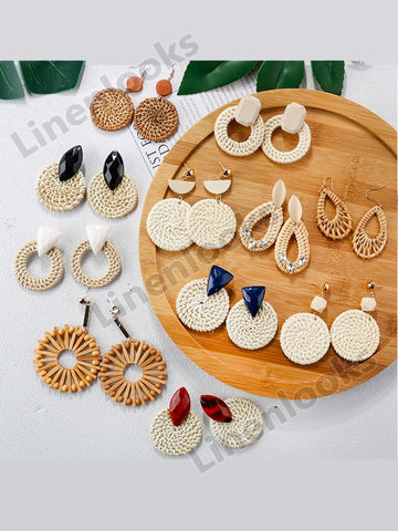 Handmade Bamboo Drop Earrings New Fashion Rattan Vine Knit Long Earrings Women Girl
