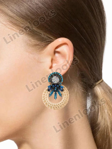 Handmade Round Earrings Women Crystal Trendy Drop Dangle Earrings Bohemian Jewelry