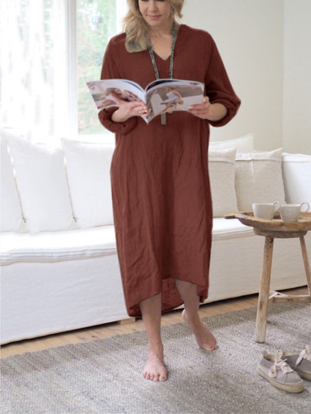 Casual Plain V-Neck Long Sleeve Plus Size Dress