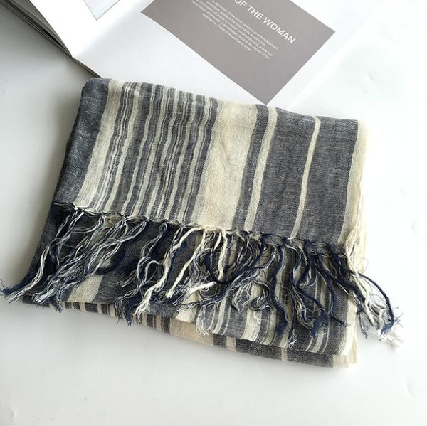 Japanese Style navy Bufandas Mens Scarf Fashion Brand Striped Scarf Spring Autumn Warm Soft Shawls 100% Linen Tassel Scarves