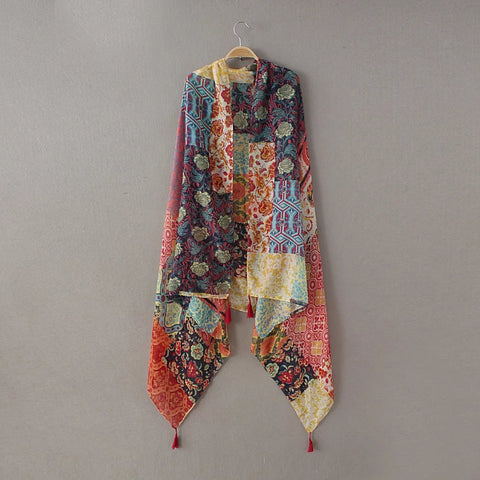 Ladies Fashion Patchwork Floral Tassel Viscose Shawl Scarf Winter