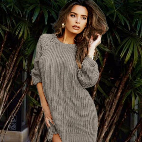 New round neck loose wool bottoming to keep warm irregular pullover sweater sweater dress  women clothing 2020  Pullovers  Full