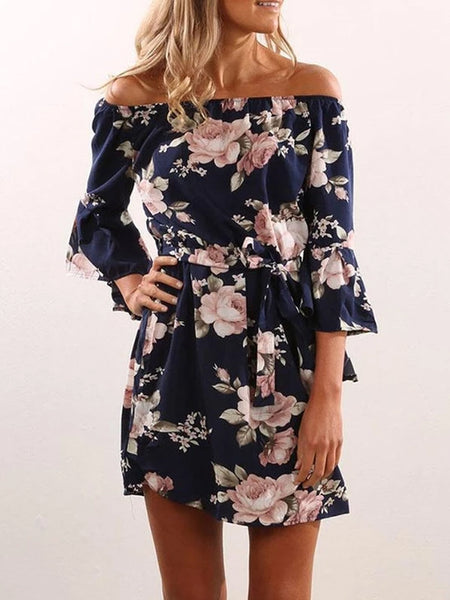 Off Shoulder  Asymmetric Hem  Belt Loops  Printed  Three Quarter Sleeve Dresses
