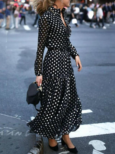 Plus Size Women Date Chiffon Long Sleeve Elegant Paneled Polka Dots Maxi Dress