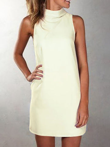Basic Sleeveless Turtleneck Midi Sheath Dress