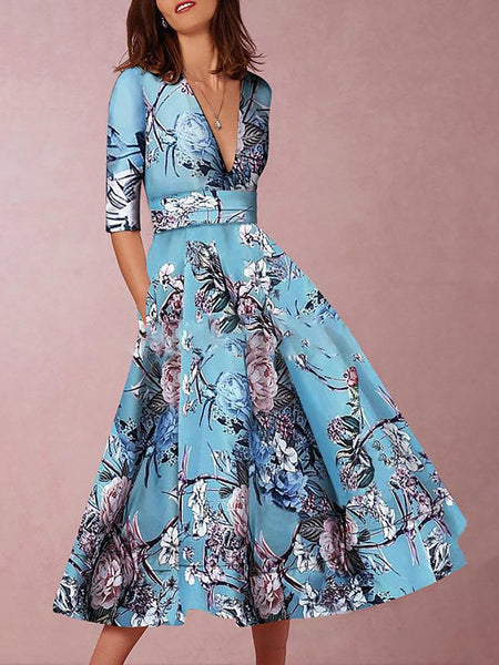 Women Blue Printed Elegant V Neck Evening Gowns Party Dresses