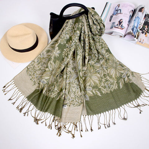 Shawl Autumn Winter Ethnic Blanket Ladies All-match Tassel Cotton Linen Scarf