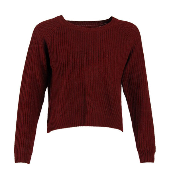 Spring 2020 New Sweater Women's Burgundy Long Sleeve Pullover Navel Sweater sweater  women sweaters and pullovers  sweater