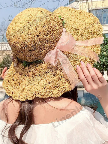 Straw Hat Female Summer Beach Hat Folding Sun Hat