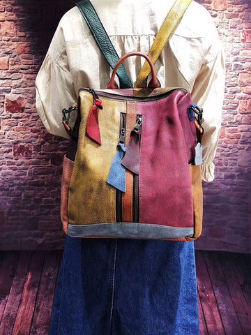 Vintage Colorful Manual Staining Backpack Bag
