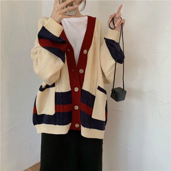 Women Autumn Winter Twist Patchwork Long Sweater Coat Female Long Sleeve V Neck Knitted Cardigan Loose plus size Pocket Outwear