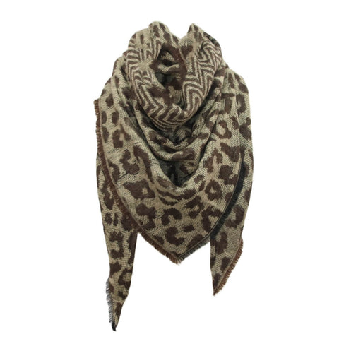 Women Scarf Winter Boho Warm Cashmere Scarf Fashion Leopard Printing Triangle Wrap Long Shawl Scarves