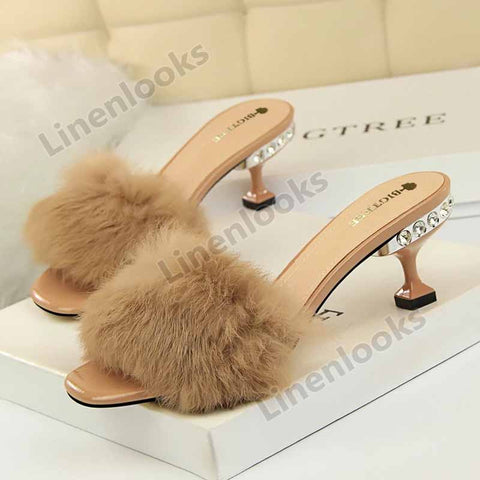 Women Sandals Fashion Outdoor Rhinestones High Heel Summer Opened Toe Slippers