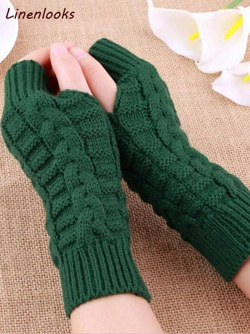 Women Knitted Arm Fingerless Gloves Mittens
