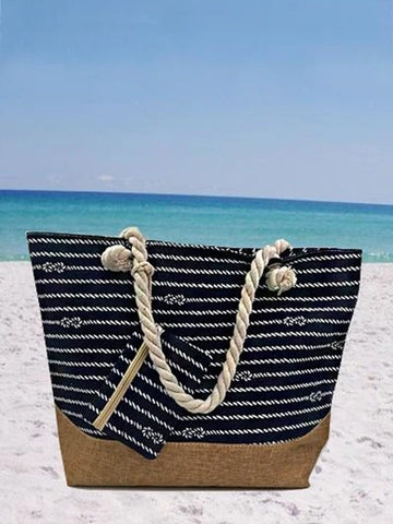 Women's Beach Casual Striped Zipper Canvas Tote Bag