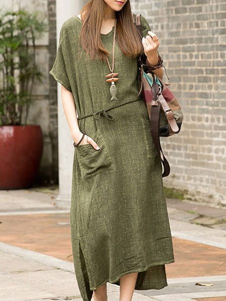 Green Linen Basic Crew Neck Plus Size Dress