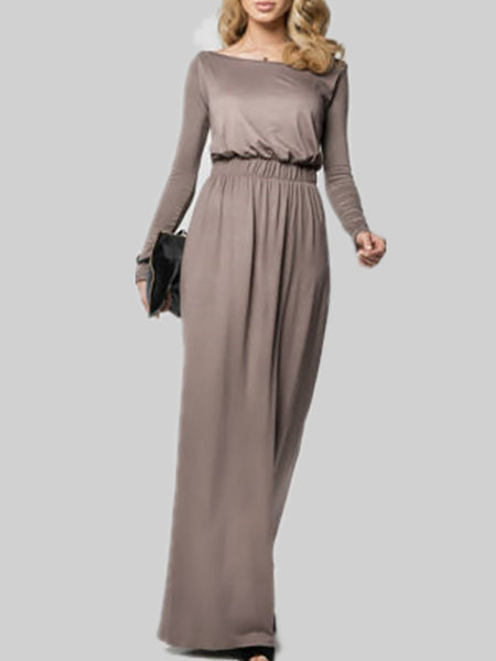 Long Sleeve Bateau/boat Neck Polyester Elegant Casual Dress