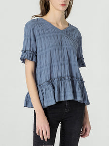 Blue Short Sleeve V Neck Cotton Shirts & Tops
