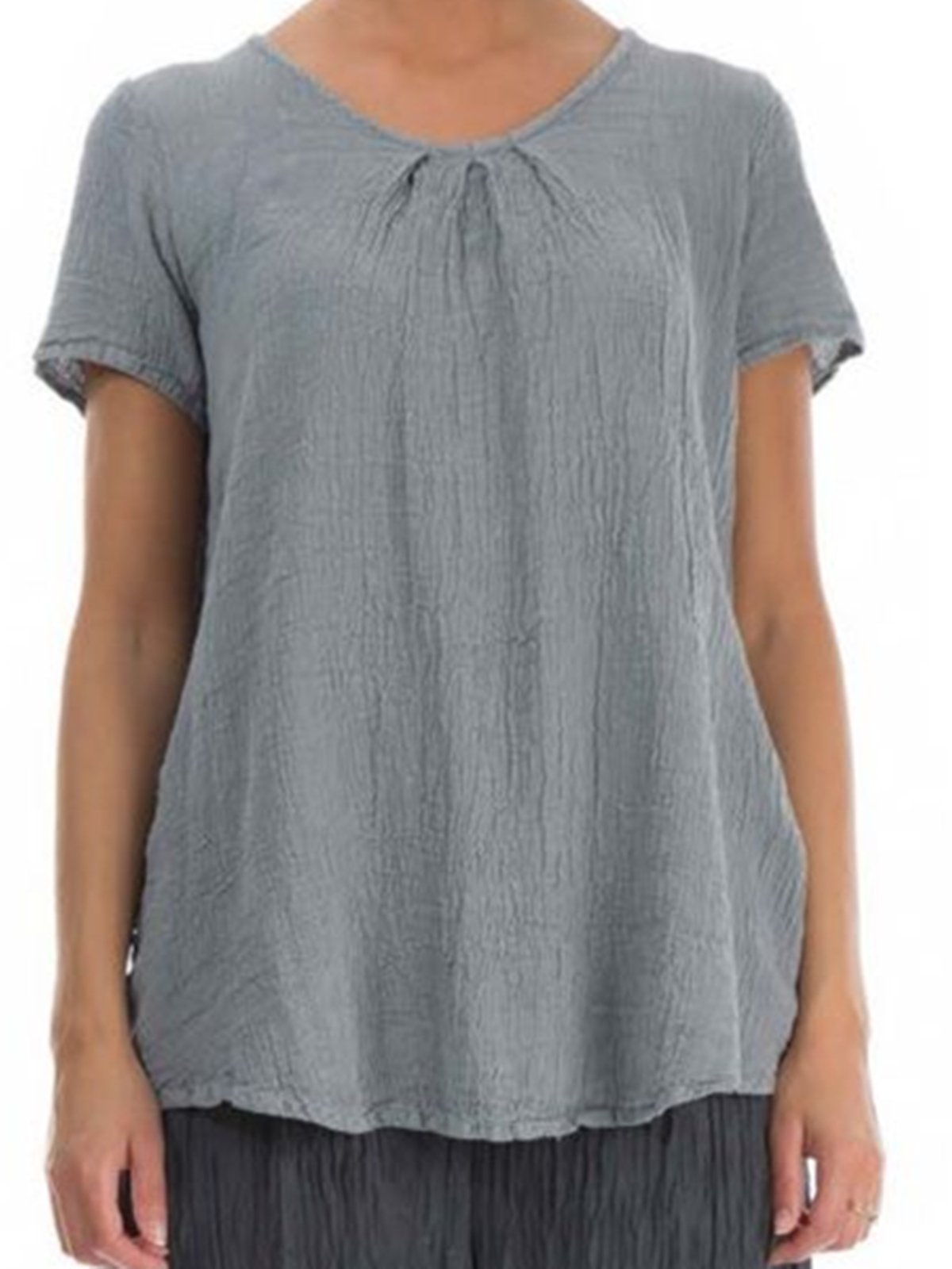 Grey Casual Linen Shirts & Tops