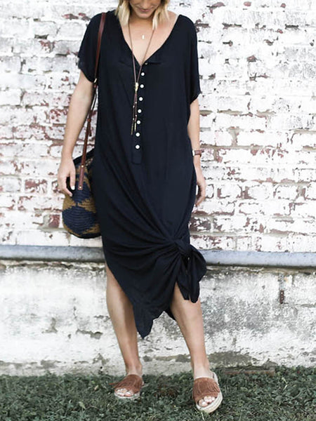 Solid V Neck Buttoned Casual Maxi Dresses