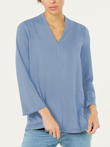 Plus Size Solid Casual V Neck  Tops