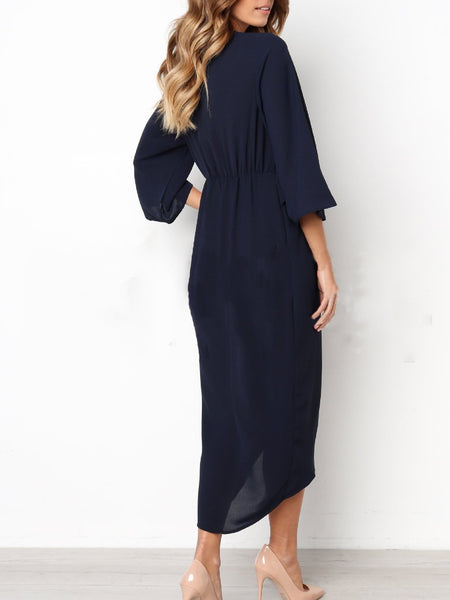 Solid Basic Crew Neck Casual Dress