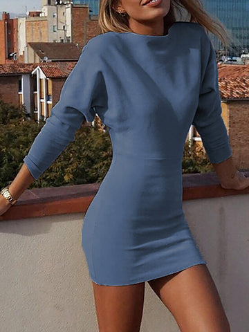V neck  Women Daily Basic Long Sleeve Solid Fall Dress
