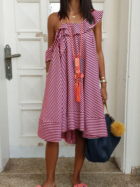 Short Sleeve Cotton-Blend Striped Dresses