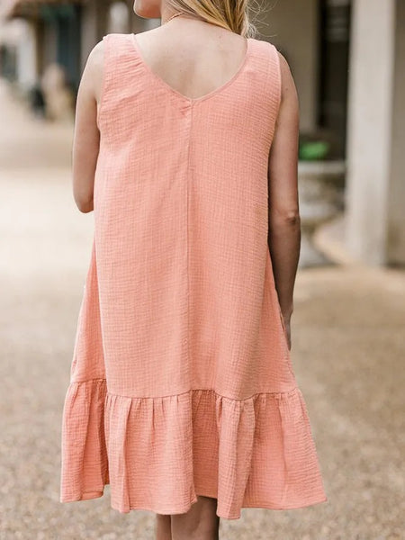 Apricot Pure Round Neck Casual Midi Dress