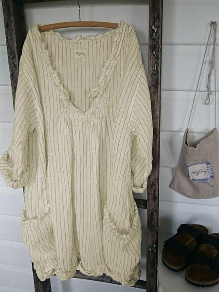 3/4 Sleeve Striped Casual Dresses