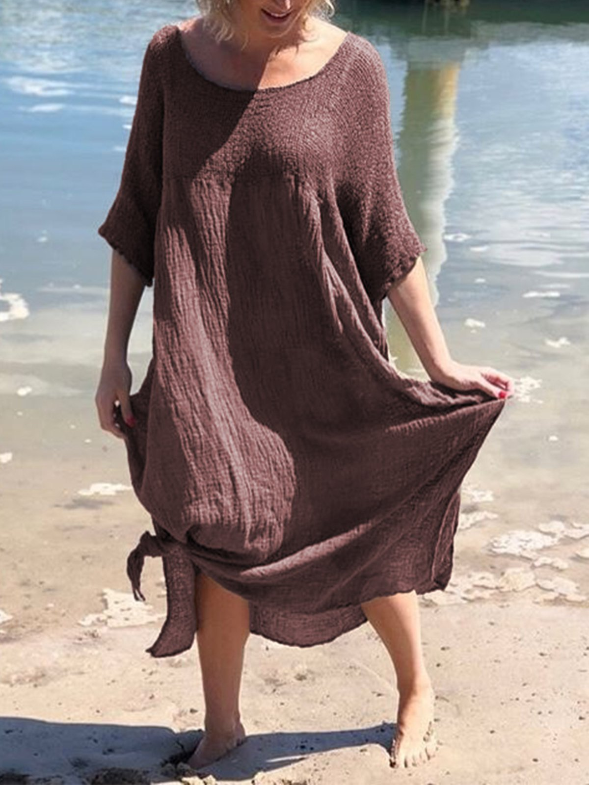 Round Neck Solid Short Sleeve Linen Dresses