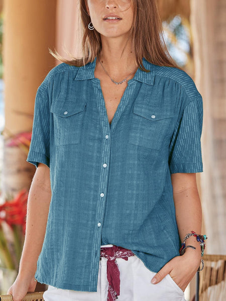 Buttoned Cotton-Blend V Neck Casual Shirts & Tops