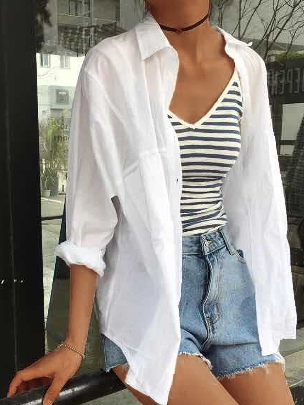 Plus Size Women Long Sleeve Loose Solid Cotton Sunscreen Jacket Casual Shirt Cardigan