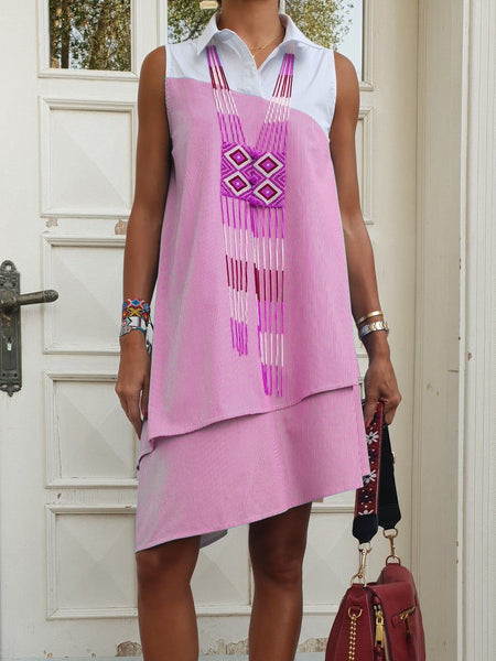V Neck Sleeveless Asymmetrical Patchwork Dresses