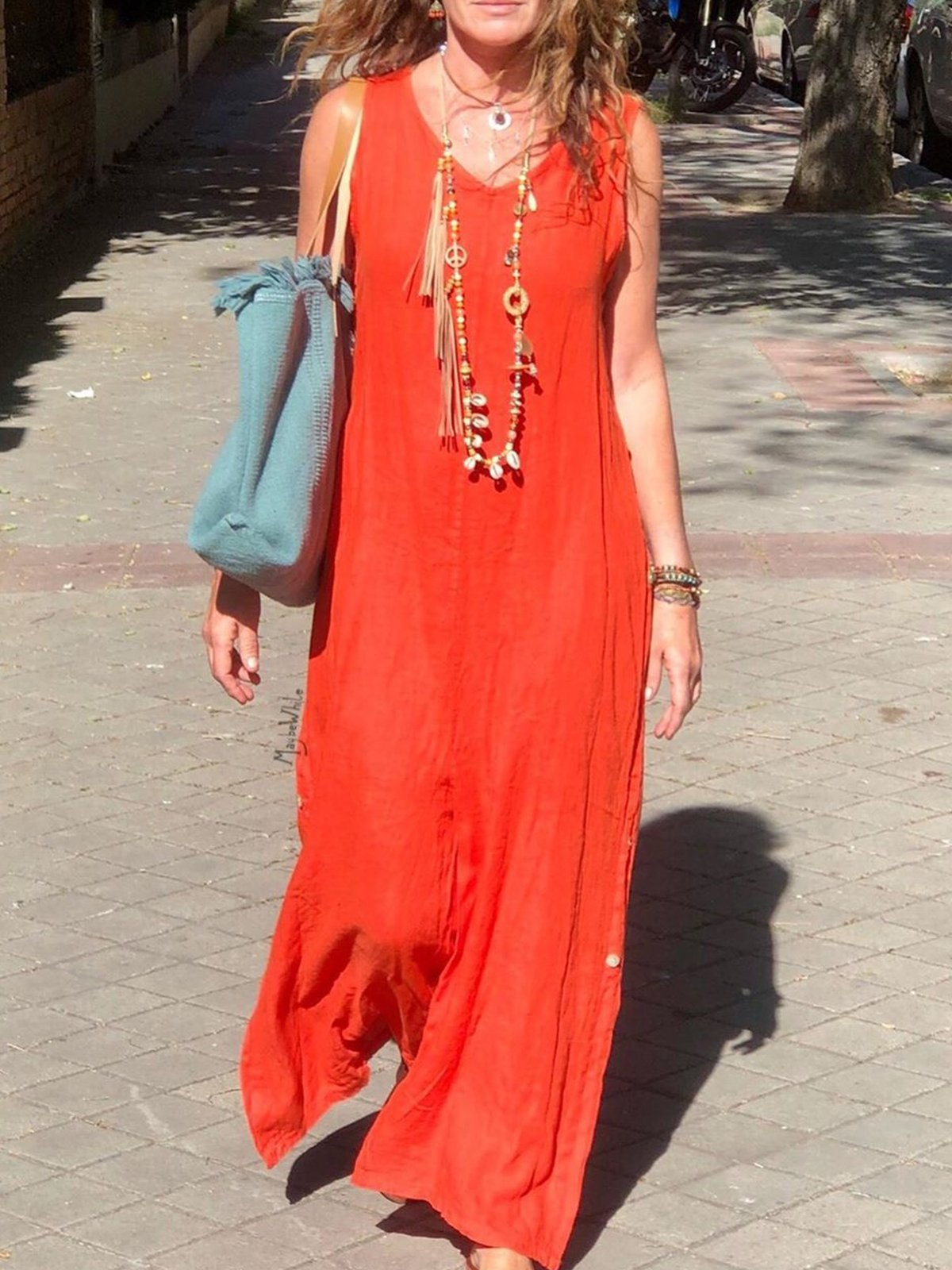 Bohemian cotton sleeveless dress