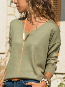 Green Knitted V Neck Long Sleeve Shirts & Tops