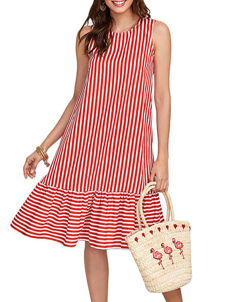 Red Striped Polyester Basic Casual Dress