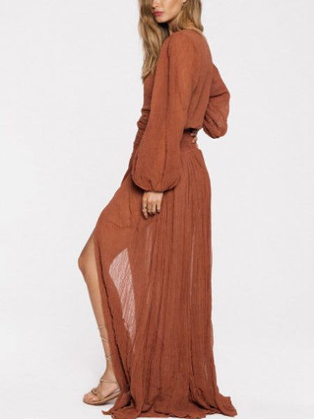 Balloon Sleeve Solid V Neck Maxi Dresses