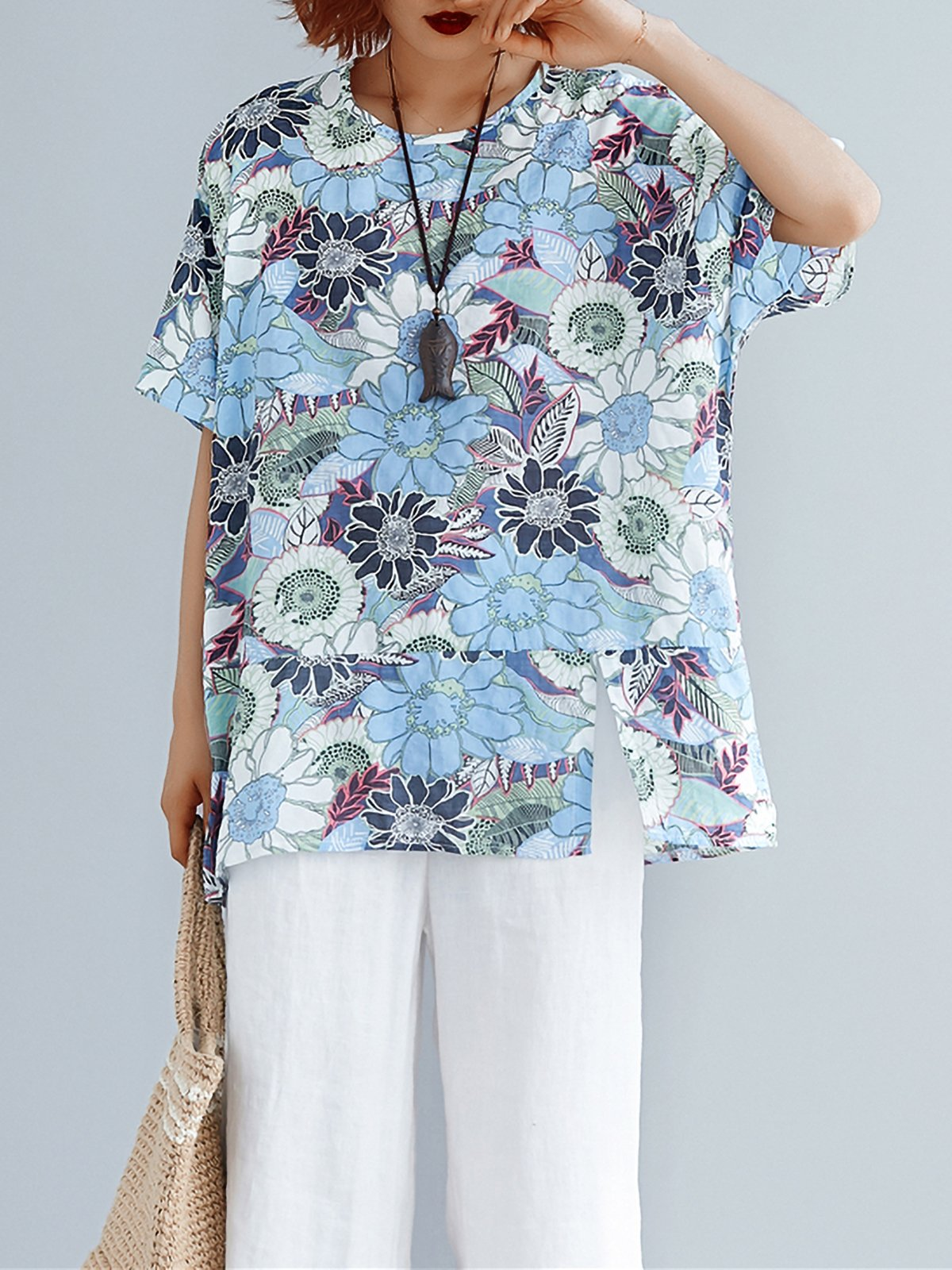 Plus Size Women Cotton And Linen Round Neck Short Sleeve Vintage Floral Casual Tops