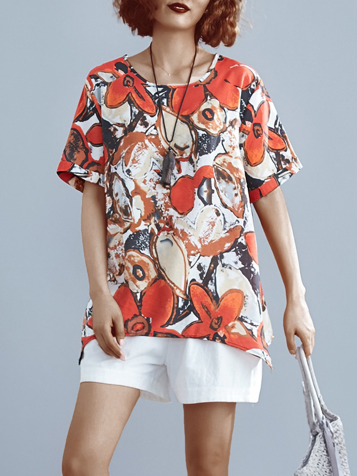 Plus Size Women Loose Cotton And Linen Round Neck Short Sleeve Abstract Pattern Irregular Casual Top