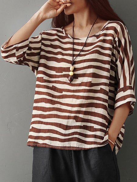 Plus Size Women Short Sleeves Round Neck Striped Floral Loose Casual Tops