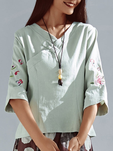 Plus Size Women Buckle 3/4 Sleeves  V-neck Loose Casual Cotton Tops