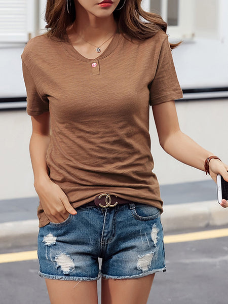 Plus Size  Women Solid  Short Sleeve  Cotton Loose Casual  Tops