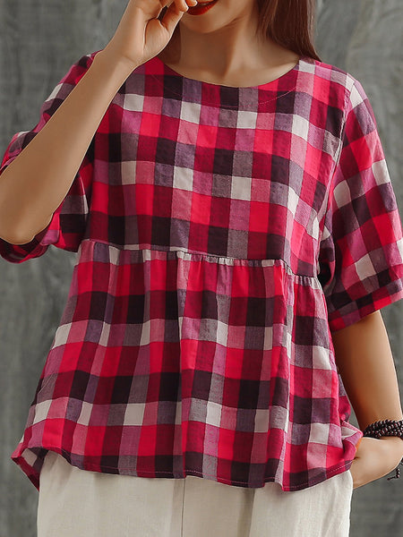 Plus Size Women Plaid Cotton And Linen Short Sleeve Loose Casual Tops