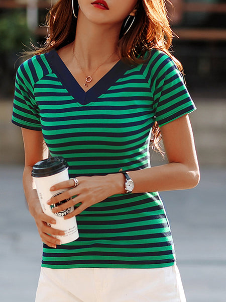 Plus Size  Women   Short Sleeve V-neck Striped  Cotton  Casual  Tops